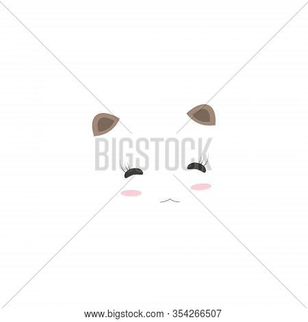 Baby Panda Face Logo Template. Baby Panda Face Icon. Asian Bear. Panda Head Isolated On White Backgr