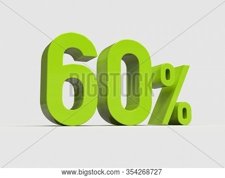 3d Render: Green 60% Percent Discount 3d Sign on Light Background, Special Offer 60% Discount Tag, Sale Up to 60 Percent Off, Sixty Percent Letters Sale Symbol, Special Offer Label, Sticker, Tag