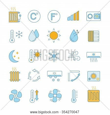 Air Conditioning Color Icons Set. Air Heating, Humidification, Ionization, Ventilation. Climate Cont