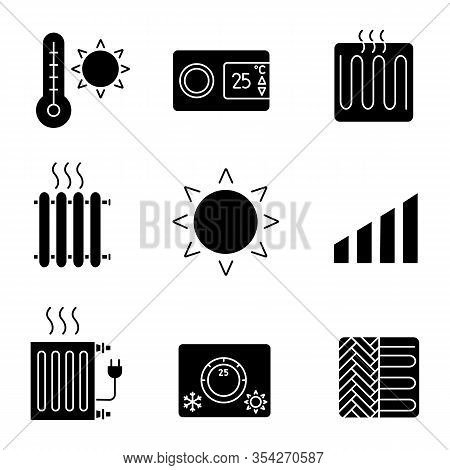 Air Conditioning Glyph Icons Set. Summer Temperature, Thermostat, Heating Element, Radiator, Heater,