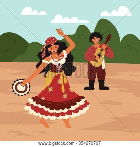 Couple Of Happy Dancing Gypsies - Girl With Tambourine In Bright Colorful Traditional Dress And Man