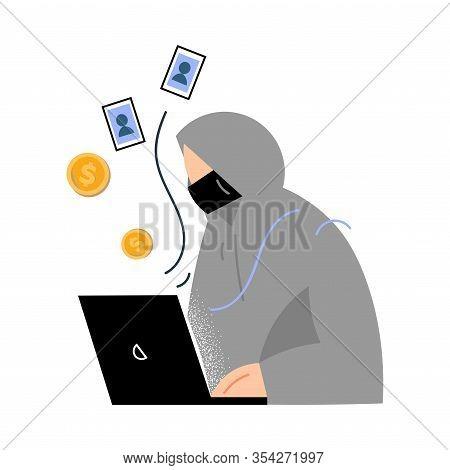 Man Criminal Robbing Money And Stealing Information In Laptop