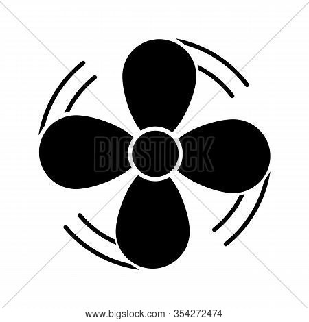 Air Ventilation Glyph Icon. Exhaust Fan. Airflow. Ventilator Rotation. Turbine, Propeller. Silhouett