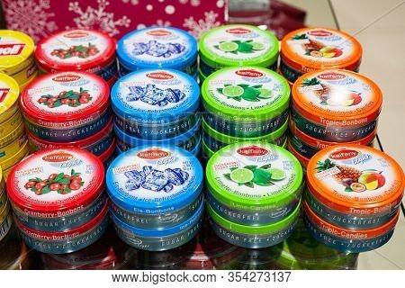 Minsk, Belarus - January 27, 2020: Kalfany Bonbons. Sucking Lollipops Of Different Tastes On A Store