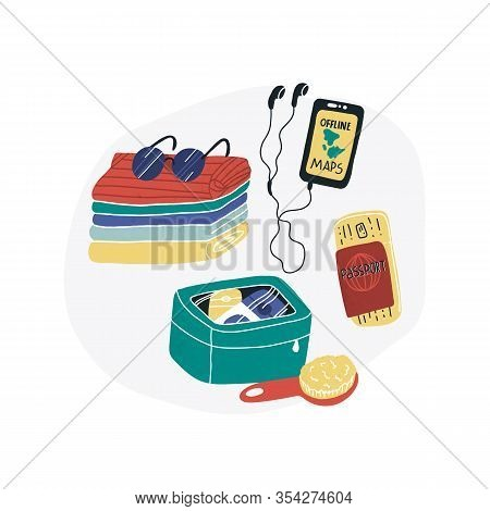 Travel Packing Fun Vector Set - Clothes And Some Travel Things Like Hairbrush And Shampoo In Beautic