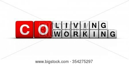 Co-working and co-living space 3D sign on white background