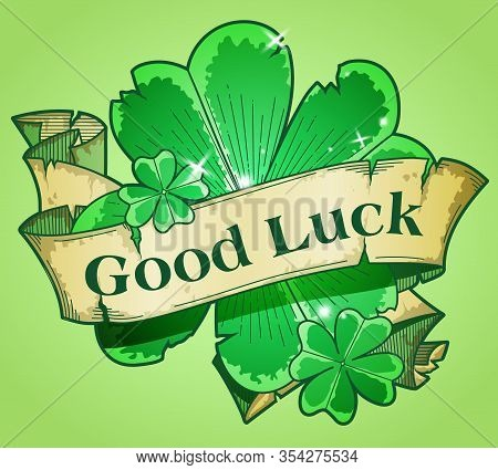 Shamrock Leaf With A Ribbon, Colorful Illustration For St Paddys Day
