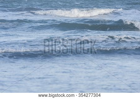 Marine Detail, Moving Water, Small Waves Of A Calm Sea In Mar Del Plata, Province Of Buenos Aires, A