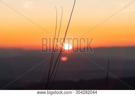Sunset Illuminating Wound In The Mountain Free