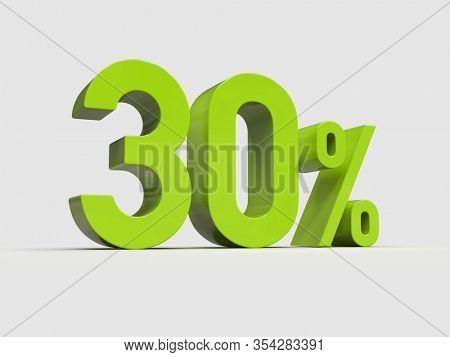 3d Render: Green 30% Percent Discount 3d Sign on Light Background, Special Offer 30% Discount Tag, Sale Up to 30 Percent Off, Thirty Percent Letters Sale Symbol, Special Offer Label, Sticker, Tag
