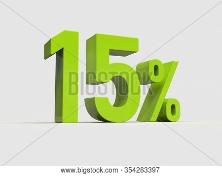 3d Render: Green 15% Percent Discount 3d Sign on White Background, Special Offer 15% Discount Tag, Sale Up to 15 Percent Off, Fifteen Percent Letters Sale Symbol, Special Offer Label, Sticker, Tag