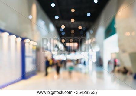 Abstract Blur People In Exhibition Hall Event Background. Trade Fair, International Exhibition, Conv