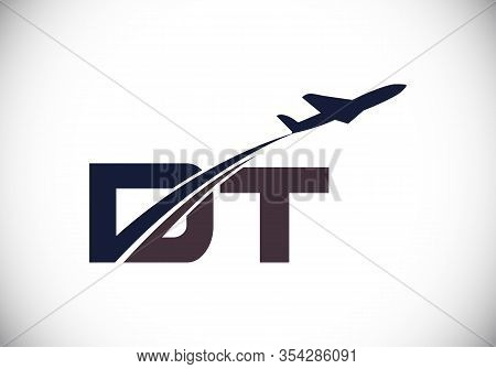 Initial Letter D And T With Aviation Logo Design, Air, Airline, Airplane And Travel Logo Template.