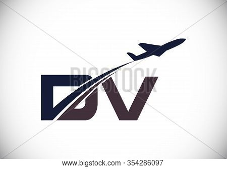 Initial Letter D And V  With Aviation Logo Design, Air, Airline, Airplane And Travel Logo Template.