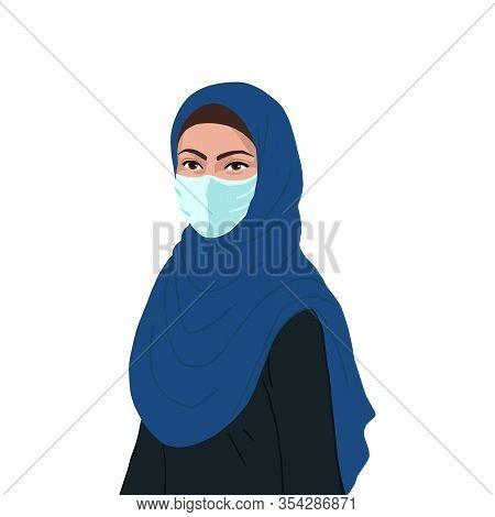 Flat Realistic Arabian Muslim Woman With Mask. Coronavirus Concept.
