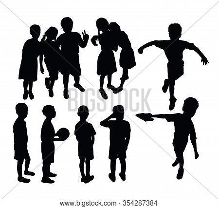 Happy Activity Children In School Silhouettes, Art Vector Design