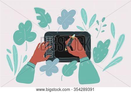 Hands With Stilus Drawing On Digitizer. Designer And Cg Artist.