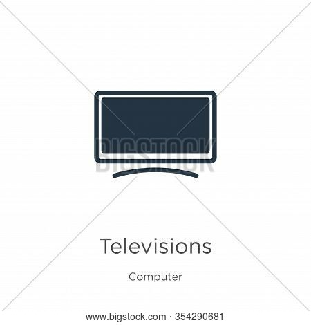 Televisions Icon Vector. Trendy Flat Televisions Icon From Computer Collection Isolated On White Bac