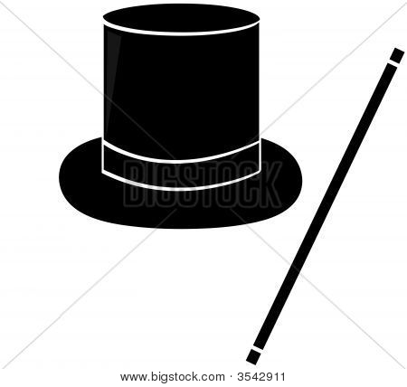 Magic Hat And Wand Silhouette.