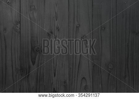 Grunge Dark Wood Plank Texture Background. Vintage Black Wooden Board Wall Antique Cracking Old Desi