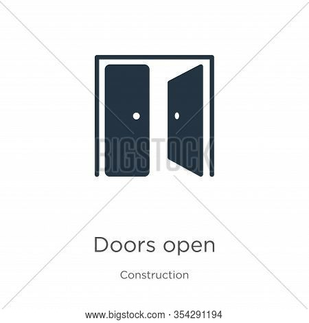 Doors Open Icon Vector. Trendy Flat Doors Open Icon From Construction Collection Isolated On White B