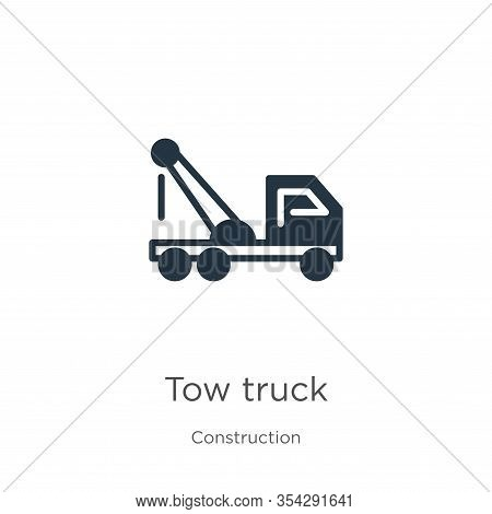Tow Truck Icon Vector. Trendy Flat Tow Truck Icon From Construction Collection Isolated On White Bac