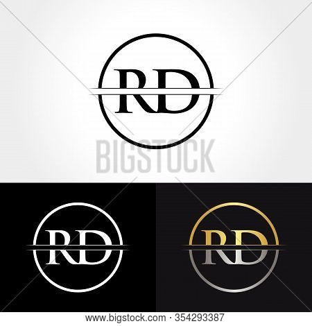 Abstract Letter Rd Logo Design Vector Template. Creative Gold And Silver Colors Rd Letter Logo Desig