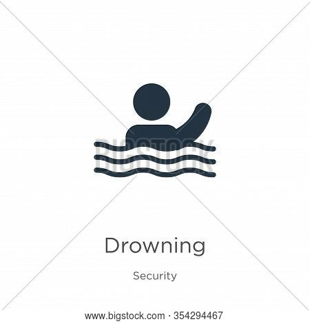 Drowning Icon Vector. Trendy Flat Drowning Icon From Security Collection Isolated On White Backgroun