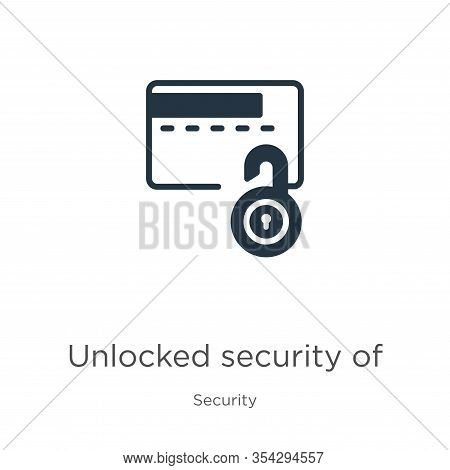 Unlocked Security Of Credit Transaction Icon Vector. Trendy Flat Unlocked Security Of Credit Transac