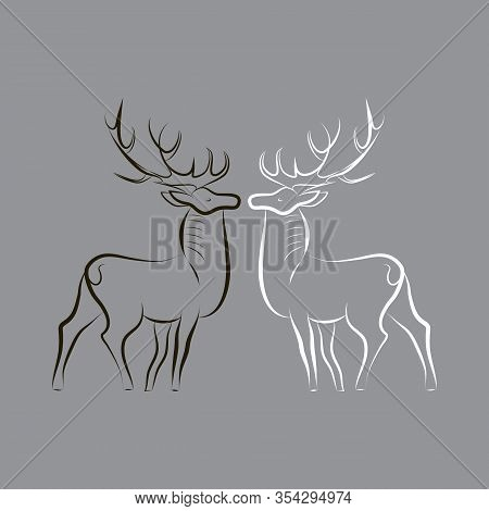 Two Deers Silhouettes. Black Deer And White Deer Proudly Stand Opposite Each Other. Animals With Gre