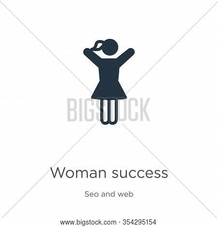 Woman Success Icon Vector. Trendy Flat Woman Success Icon From Seo And Web Collection Isolated On Wh