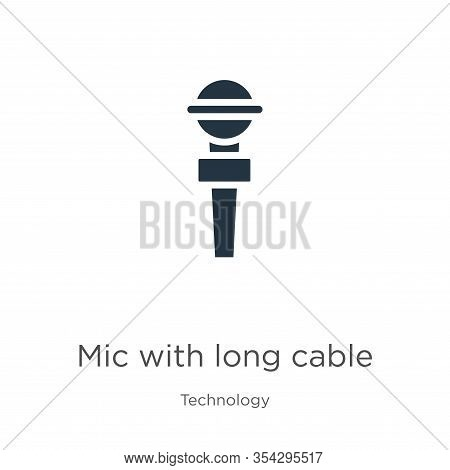 Mic With Long Cable Icon Vector. Trendy Flat Mic With Long Cable Icon From Technology Collection Iso