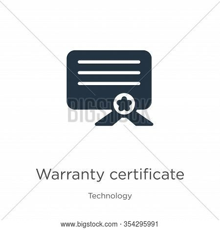 Warranty Certificate Icon Vector. Trendy Flat Warranty Certificate Icon From Technology Collection I