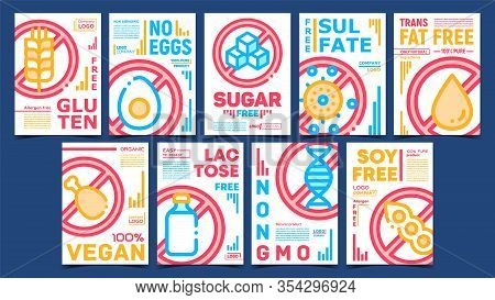 Unhealthy Ingredients Free Posters Set Vector. Non-gluten And Non-eggs, Non-sugar And Non-sulfate, N