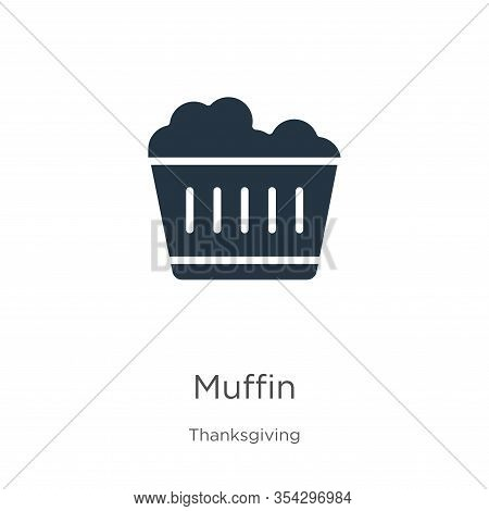 Muffin Icon Vector. Trendy Flat Muffin Icon From Thanksgiving Collection Isolated On White Backgroun
