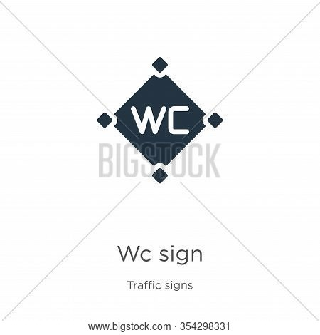 Wc Sign Icon Vector. Trendy Flat Wc Sign Icon From Traffic Signs Collection Isolated On White Backgr