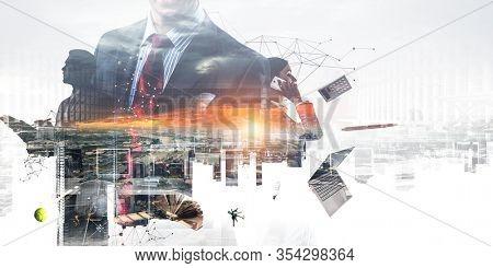 Productivity through technology concept . Mixed media