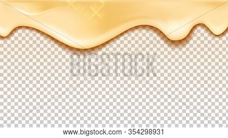 Flowing Down Vanilla Or Caramel Taste Cream Vector. Delicious Milk Cream Drip Ingredient For Wafer B