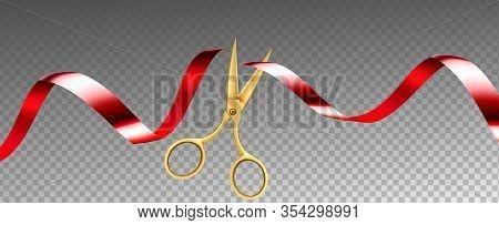 Scissors Cutting Ribbon Shop Grand Opening Vector. Ceremonial Metal Golden Scissors Cut Red Silk Tap
