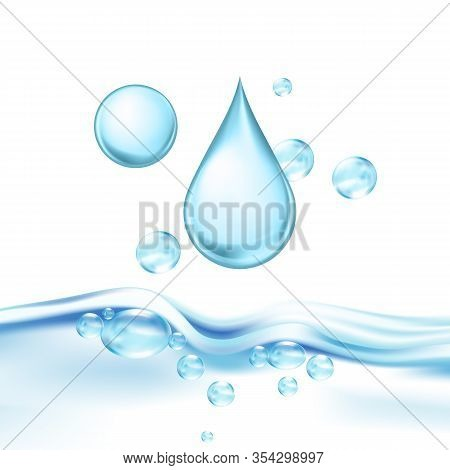Falling Mineral Water Drop And Air Bubbles Vector. Drinking Crystal Clear Water For Quenching Thirst