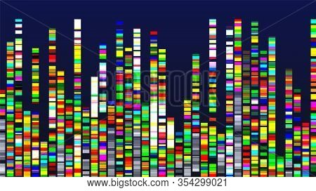 Genome Design Multicolor Data Visualization Vector. Dna Test, Barcoding, Genome Map Architecture. Me