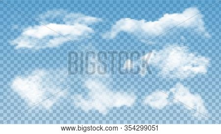 Fluffy Clouds Atmosphere Assortment Set Vector. Collection Of Soft Air Clouds. Morning Good Weather