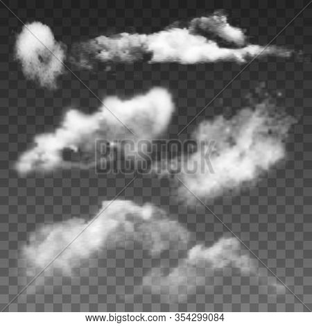 Fluffy Flying Sky Clouds And Overcast Set Vector. Beautiful Atmospheric Clouds Nature Decoration. Se