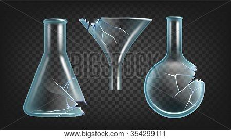 Broken Laboratory Flasks And Funnel Set Vector. Scientific Clean Glassware, Damaged Pharmacy Flasks