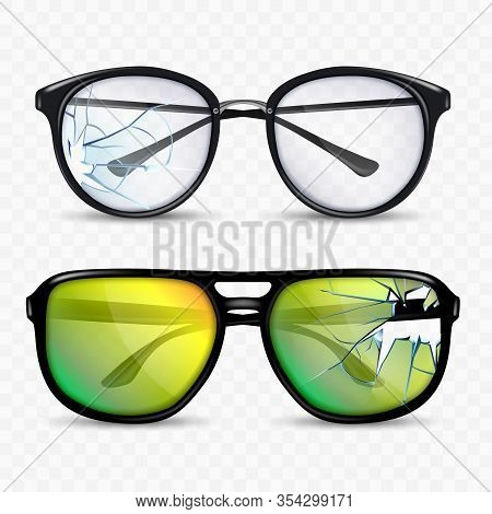 Broken Glasses And Spectacle Accessory Set Vector. Sun Protection Glasses. Classic Sunglasses With P