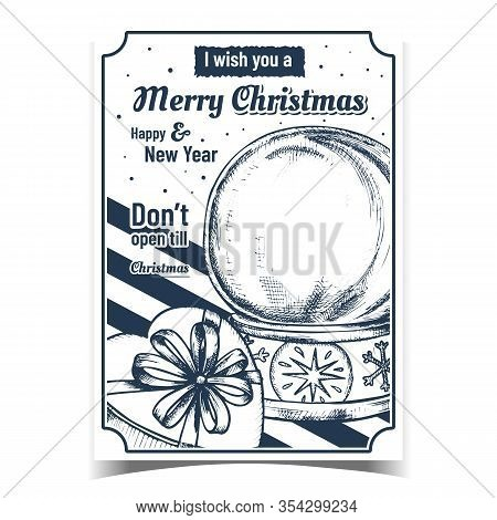 Merry Christmas Celebration Creative Banner Vector. Empty Snowglobe Christmas Souvenir And Gift Box
