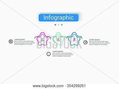 Infographic Vector Star Design Business Infographic Template With 3 Options. Creative Concept For In