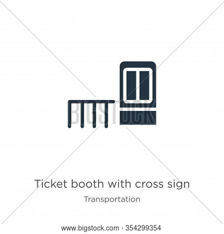 Ticket Booth With Cross Sign Icon Vector. Trendy Flat Ticket Booth With Cross Sign Icon From Transpo