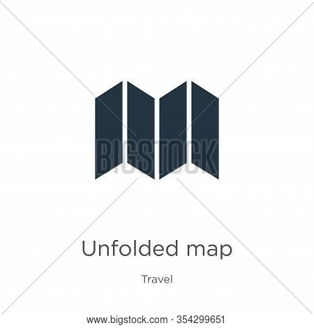 Unfolded Map Icon Vector. Trendy Flat Unfolded Map Icon From Travel Collection Isolated On White Bac