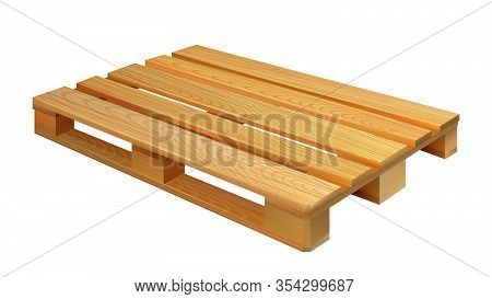 Empty Wooden Pallet For Shipping Boxes Vector. Pallet Skid Structural Foundation Of Unit Load Which
